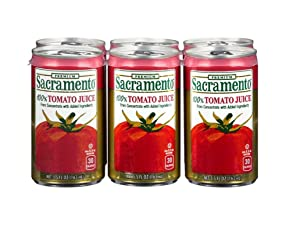 Sacramento Tomato Juice, No Added Sugar, No High Fructose Corn Syrup, 5.5 Ounce Cans, 6-Pack Plus A Maryland Wholesale Pen.