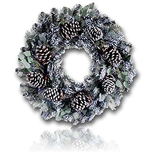 """Custom & Unique (30"""" Inches) 1 Single Large Size Decorative Holiday Wreath for Door, Made of Resin w/ Artificial Winter Festive Snowy Frosted Pine Cones & Eucalyptus Style (Brown, Green, & White) (Wreath Pinecone Advent)"""