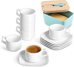 DOWAN Porcelain Espresso Cups with Square Saucers, 4 Ounce, Stackable Espresso Cups Set of 6, White