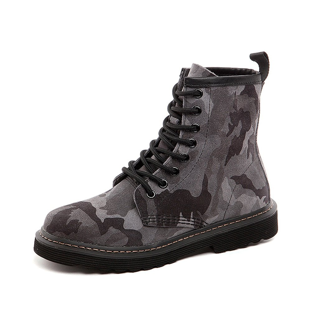 Women 's Martin boots fall Genuine leather camouflage tide shoes personality medium tube locomotive boots ( Color : Gray , Size : US:5UK:4EUR:35 )