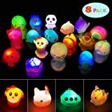 Jofan Random 8 Pack Light Up Bath Toys Floating Rubber Animal Water Toys for Toddlers Baby Infants Kids Bath Time…