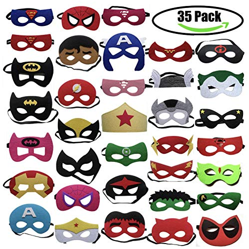 35pcs Cartoon Party Supplies Favors Superhero Masks Children Cosplay Character Felt Masks Party for Kids]()