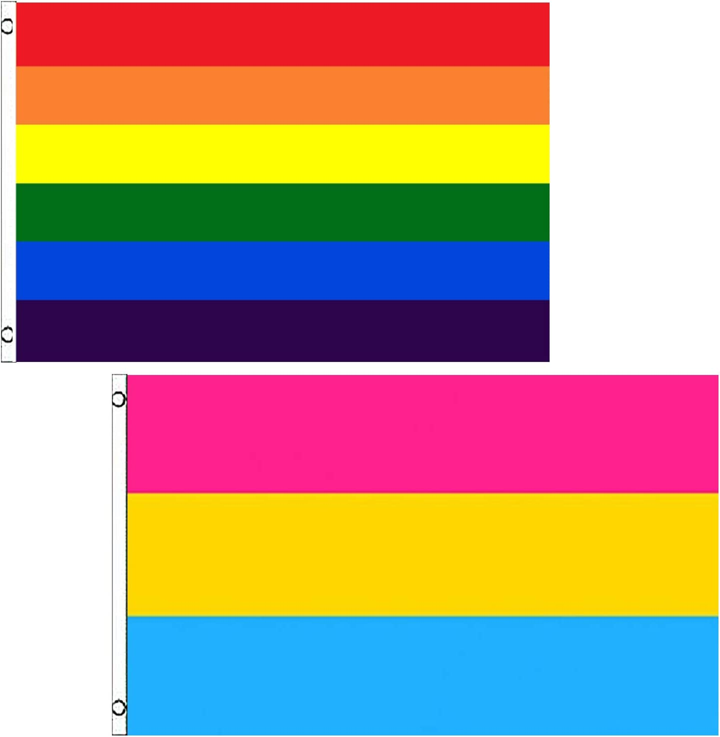 3x5 Pansexual Symbol Flag House Banner Grommets Super Polyester Premium Quality