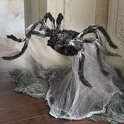 Motion Sound Activated Animated Black Furry Spider Evil Arachnid Halloween Prop Realistic, Outdoor Use, Animatronic, Battery Powered, Glowing Eyes, Poseable (Animated Halloween Spider)