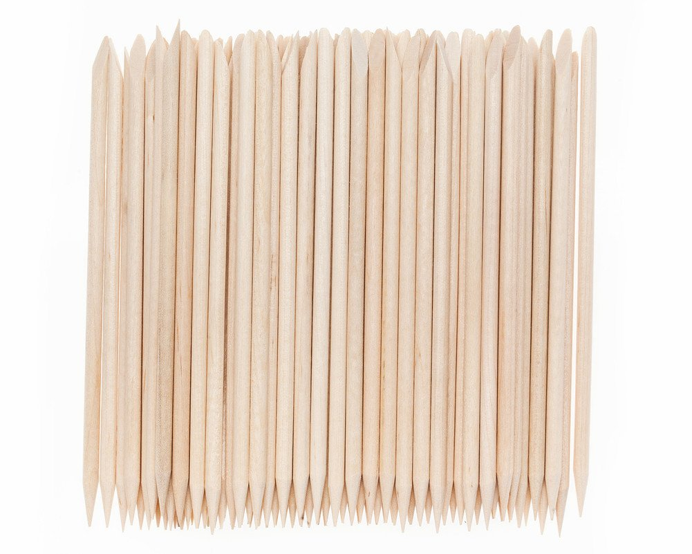 100 Nail Art Orange Wooden Stick Cuticle Pushers Remover Manicure Tools By VAGA®