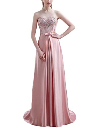 Fanhao Womens Strapless Beading Corset Top Satin Long Formal Prom Dress ,Pink,XS