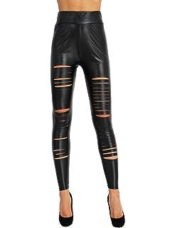 TiaoBug Femme Sexy Pantalon Legging en Cuir Taille Haute Pantalon Trous  Legging Slim Skinny Legging de Soirée Danse… a68de833e521