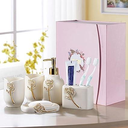 Flor feliz resina de estilo europeo 5 piezas Accesorios de baño Set Jabonera de
