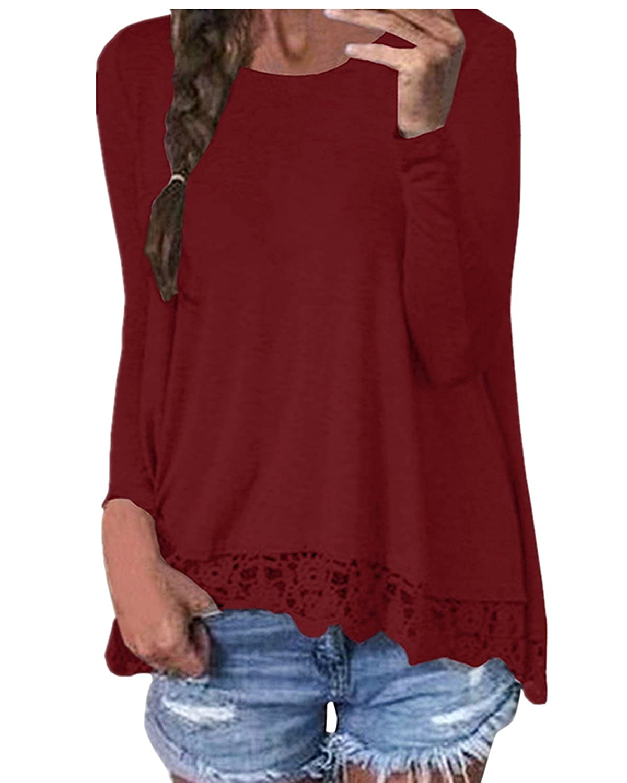 TALLA 38-40 EU. ZANZEA Mujeres Encaje Blusa Camiseta Casual Damas Oficina Elegante Cuello Redondo Mangas Largas