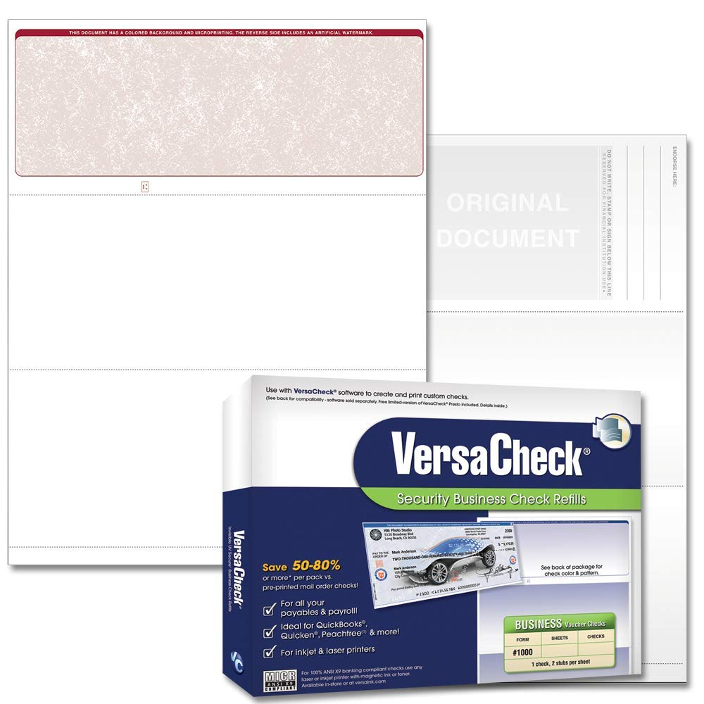 Versacheck Security Business Check Refills Form 1000 Business Voucher Burgundy Classic 250 Sheets