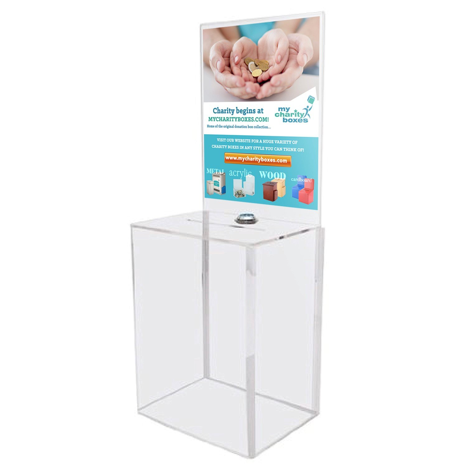 MCB Large Donation Box - Ballot Box - Suggestion Box - Ticket Box - Tip Container - With Large Display Area - Lock and 2 Keys Included(2 Pack) by My Charity Boxes