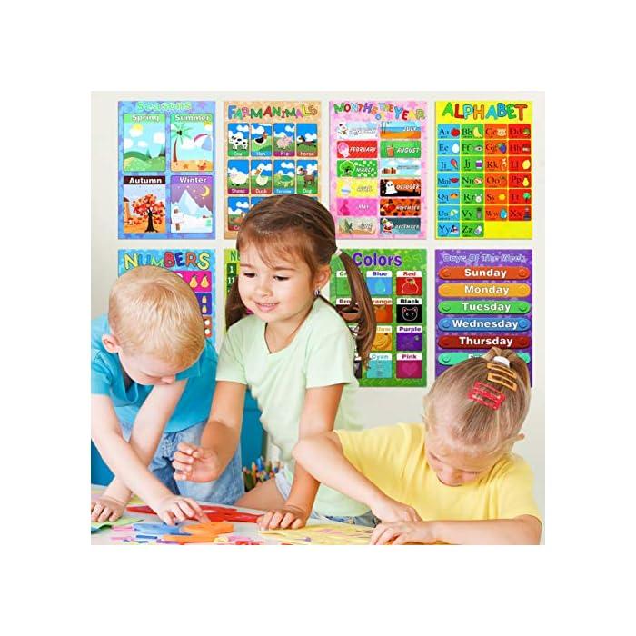 61 80RBrEoL 10 cartas de carteles de pared de diferentes colores brillantes incluyen letras del alfabeto, números 1-10, números 1-100, formas, colores, estaciones, animales, semana, meses, clima. El póster educativo de cada niño único presenta una variedad de colores llamativos e imágenes lindas y amigables para los niños que les ayudan a mantenerse enfocados mientras aprenden en casa o en el aula. Nuestros carteles preescolares son de aproximadamente 16 x 11 pulgadas y están impresos en papel de calidad para mayor durabilidad. Estos carteles educativos para niños son resistentes a la rotura y al desgaste y son perfectos para el uso en el hogar y el aula.