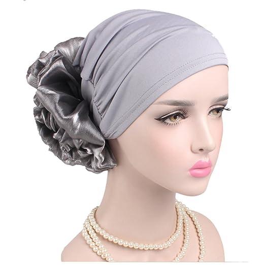 Women Big Flower Elastic Turban Beanie Head Wrap Chemo Cap Hat (Gray ... 96b2c4b02