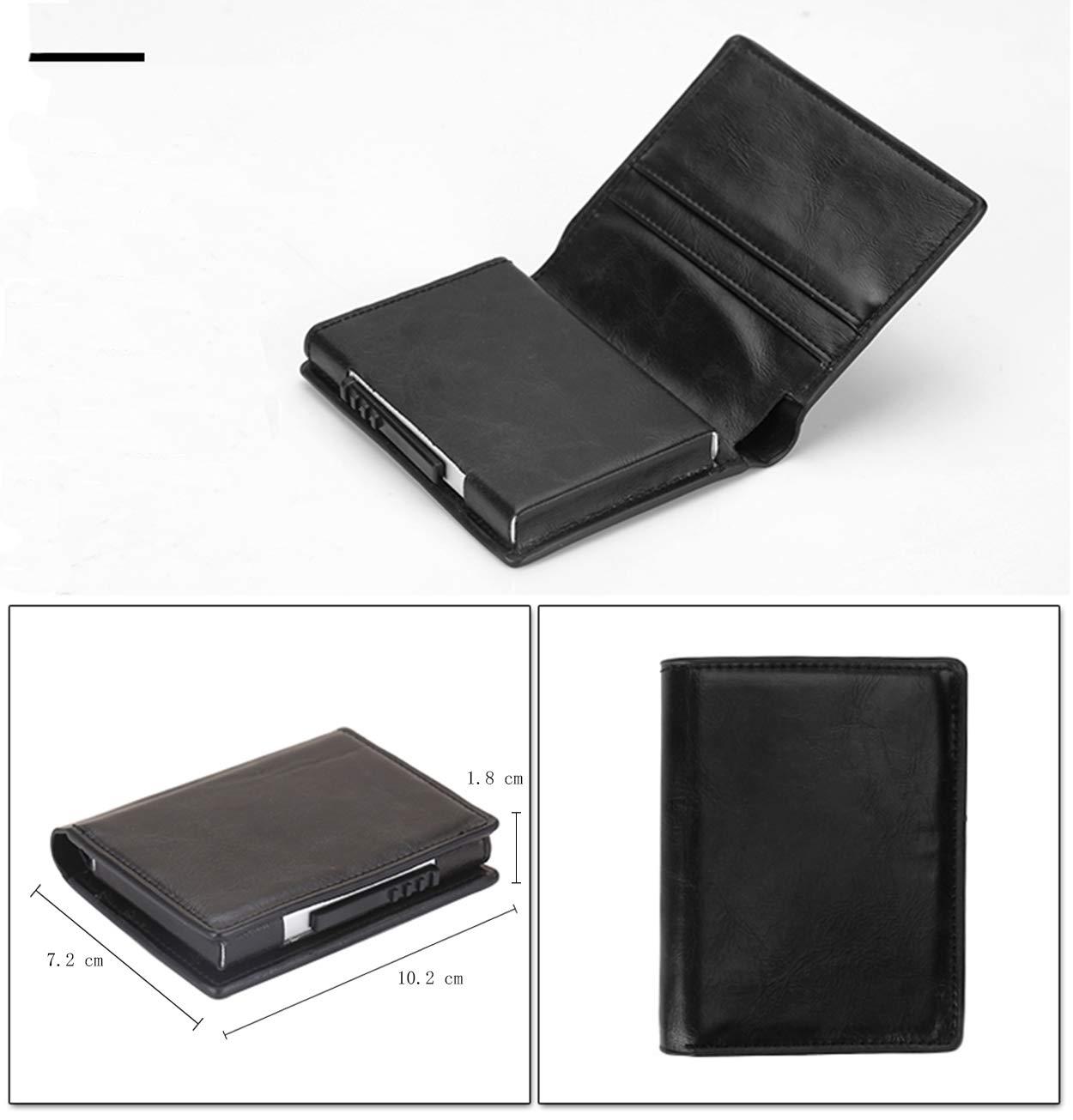 porta carte di credito uomo,Automatico Pop-up per carte di credito uomo,Pelle Portafoglio Portamonete RFID//NFC Blocco Color crema