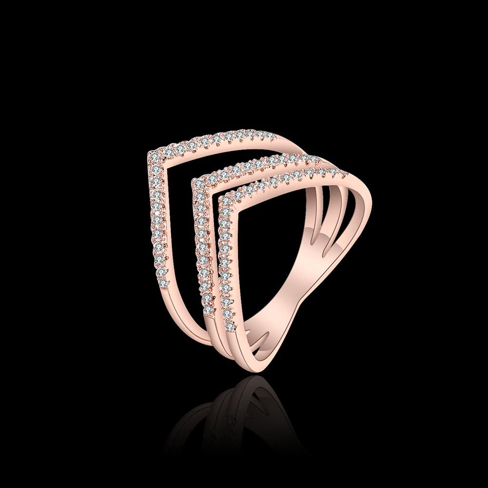 Size 8 Real Love Three Layers Heart Promise Ring Rose Gold Plated Couples Wedding Engagement Cubic Zirconia Ring For Her EVERRICH