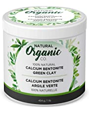 Natural Organic Co. Calcium Bentonite Green Healing Clay | Natural Facial Mask for Smoother and Softer Skin | Face and Body Deep Pore Cleansing, Acne Treatment, Anti Aging and Anti Wrinkle | 454g / 1LB