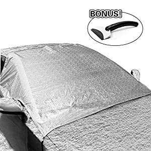 """MeeQee Car Snow Cover, Windshield Cover for Ice and Snow & Sun Shade Protector, Windshield Frost Cover Fit Most Car, SUV, Minivans –59""""x 55"""""""