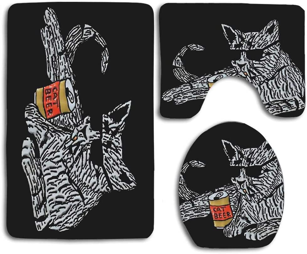 NEWcocoCool Skidproof Toilet Seat U Shape Cover Bath Mat Lid Cover for BathroomJianyue Cactus and Cat
