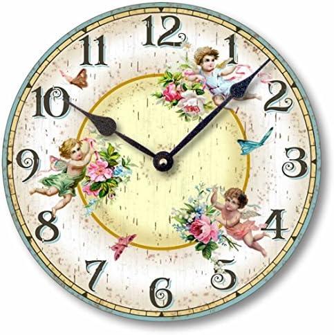 Fairy Freckles Studios Item C2034 Vintage Style 10.5 Inch Victorian Fairies Butterflies Clock