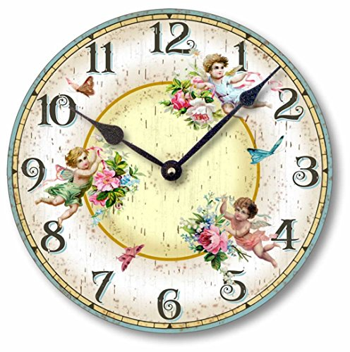 Fairy Freckles Studios Item C2034 Vintage Style 10.5 Inch Victorian Fairies Butterflies Clock