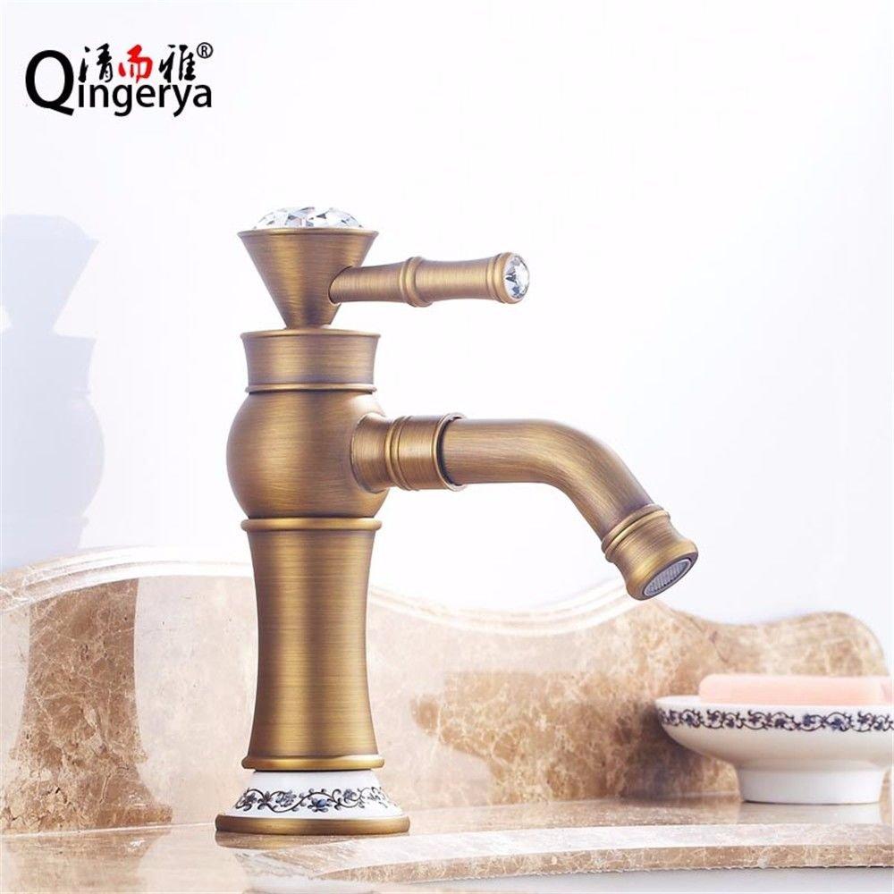 NewBorn Faucet Wasserhähne Warmes und Kaltes Wasser Größe Qualität der kupferne Becken abgesenkt Wanne Wasser 360°-Drehung heißen und Kalten Becken Antique Gold Tippen Tippen