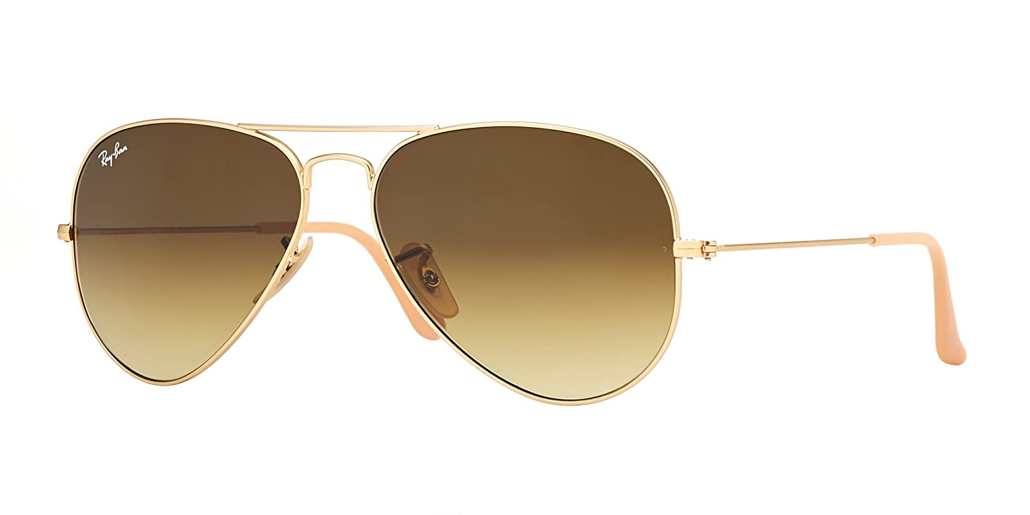 238974dd43 Amazon.com  Ray Ban RB3025 112 85 58 Matte Gold Brown Gradient Large Aviator  Bundle-2 Items  Shoes