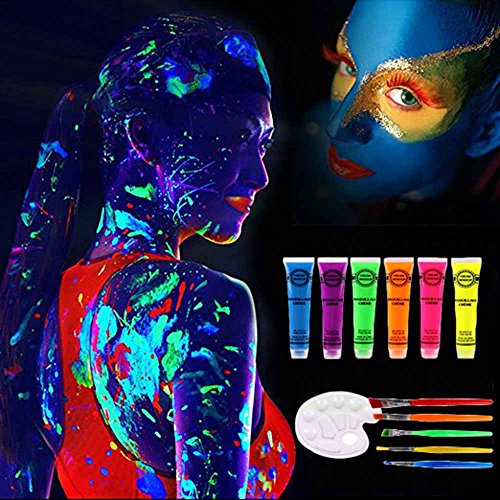 UV Blacklight Glow in Dark Face and Body Paint Luminous Art Paint Set with 6 Tubes, 5 Brushes, 1 Mixing Palette and 1 Scraper Neon Fluorescent for Makeup Nail Polish Nightclub World Cup -