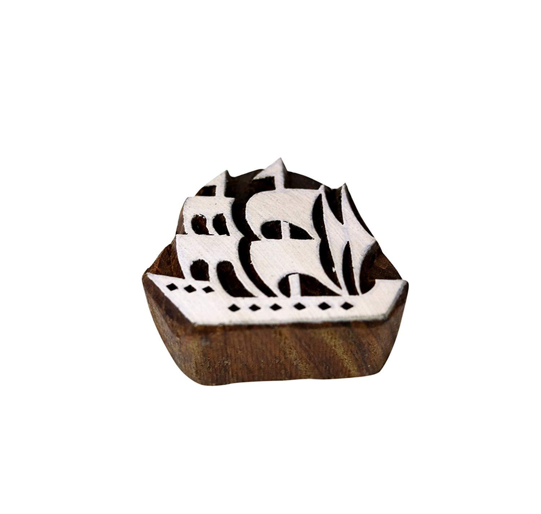PARIJAT HANDICRAFT Printing Stamps Mughal Design Wooden Blocks (Set of 5) Hand-Carved for Saree Border Making Pottery Crafts Textile Printing