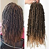 14inch Spring Twist Crochet Braiding Curly Ends Pre Twisted Soft Light Hair Extensions(14inch,#1B/27,6pcs)