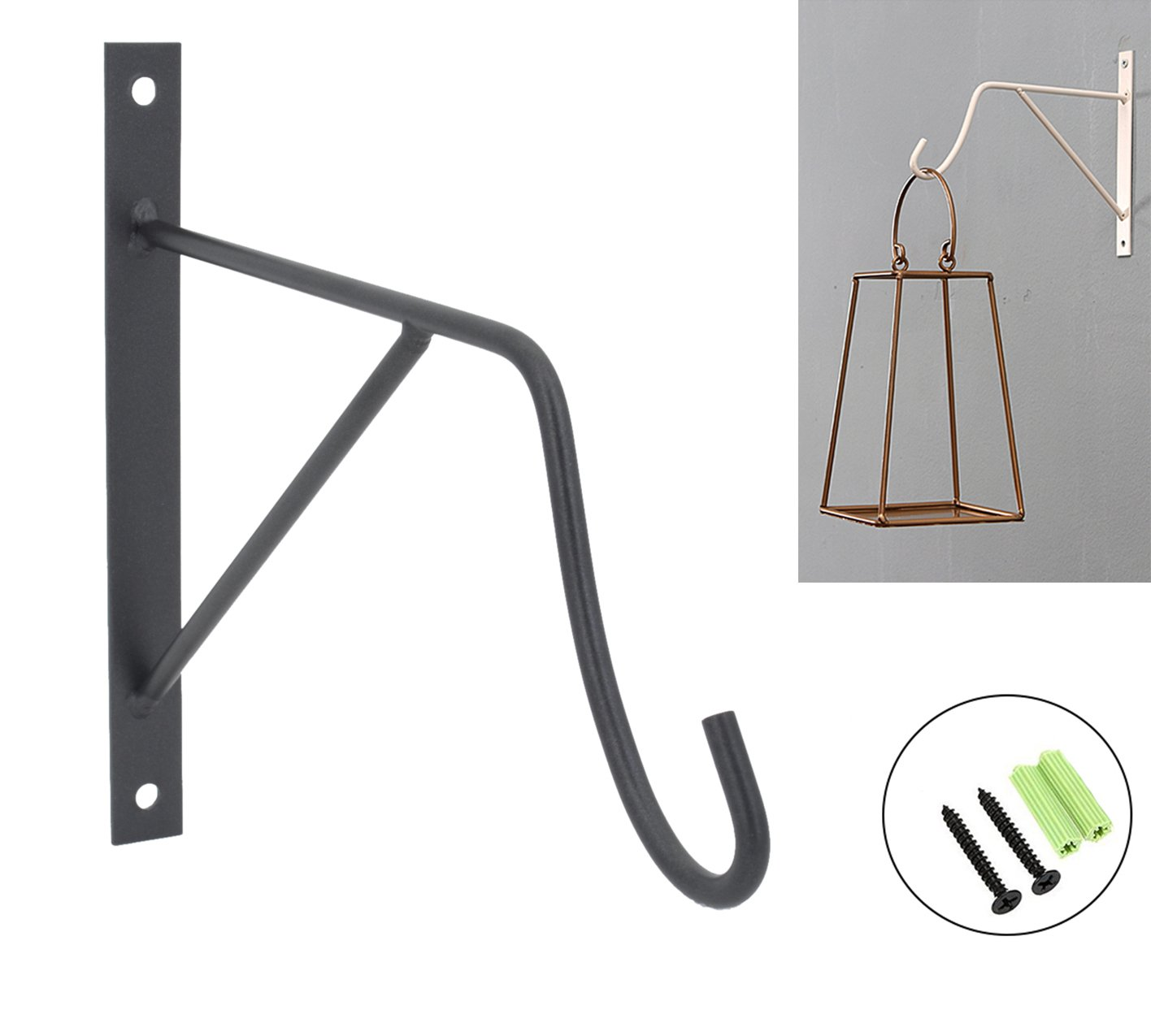 Iron Wall Garden Bracket Hook for Hanging Wind Chimes, Plants, Wind Spinners & Bird Feeders (Black-B) by OVOV