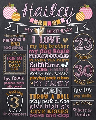 Dozili Personalized Pink Pumpkin First Birthday Chalkboard Style Metal Sign, Pumpkin Pink Orange and Glitter 1st Birthday Chalk Board Sign, Halloween Birthday Chalkboard