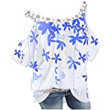 Womens Loose Plus Size Floral Print T-Shirt Tee S-5XL, Lace Ruffle Short Sleeve V-Neck Basic Top Tie Dye Ugly Shirt…