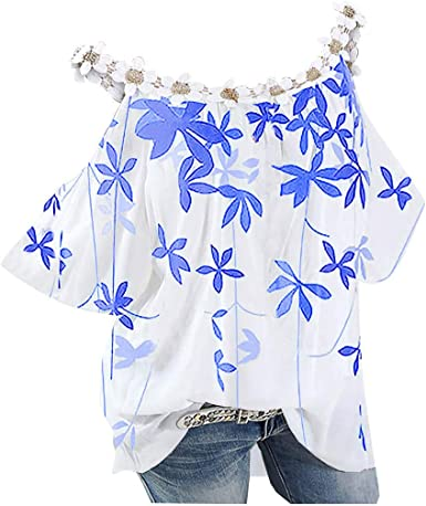 Women Top Plus Size Clothing Floral Top Summer Wear Plus Size Top Flower Top Summer Top Slim Fit Top Short Sleeve Top Blue Top