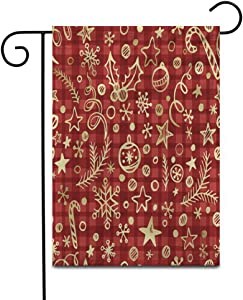 Crysss 12.5x18Inch Garden Flag Red Plaid Christmas Checkered Golden Pattern Xmas Retro Traditional Outdoor Home Decor Double Sided Yard Flags Banner for Patio Lawn