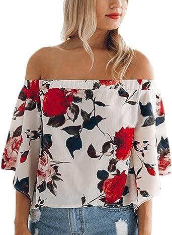 Mujer Tops Camisetas Verano Estampadas De Flores Elegantes Vintage Fiesta Anchas Camisas Media Manga Hombros Dulce Lindo Chic Barco Cuello Blusa T Shirt Blouses: Amazon.es: Ropa y accesorios