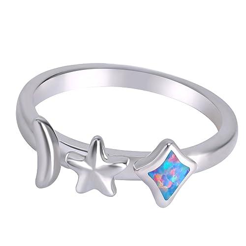 Mexican Fire Opal anillo para las mujeres 925 plata de ley estrella luna joyería colgante regalo