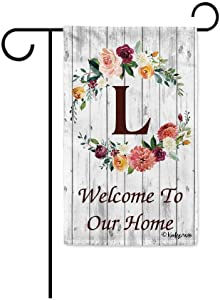 KafePross Hello Spring Flowers Summer Initial Letter Monogram L Garden Flag Welcome to Our Home Warminghouse Decor Banner for Outside 12.5X18 Inch Double Sided