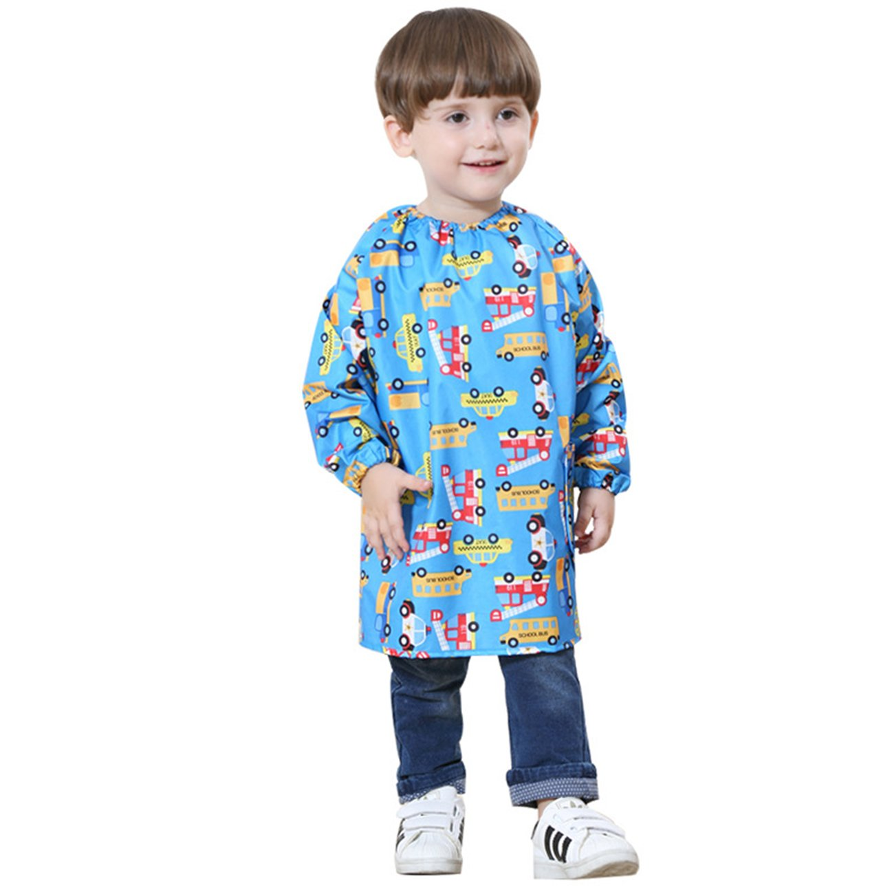 Lemonkid® Children Waterproof Painting Clothing Fashion Cartoon Kids Overclothes Dustcoat,Blue,L/Height:105-120cm/fit 5-7T