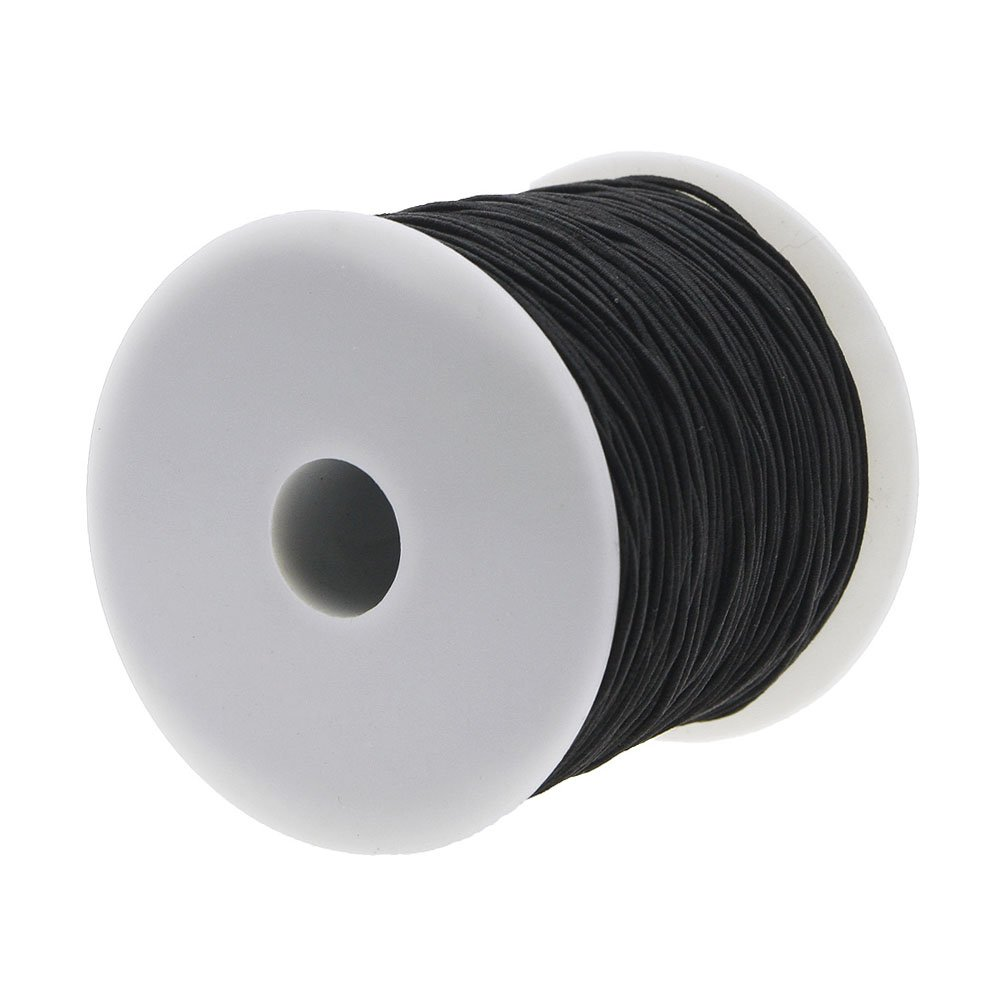 Black Keyzone 1 mm Elastic Cord Thread Beading String Cords 100 Meters