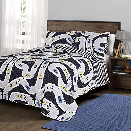 Lush Decor, Navy Car Tracks 3 Piece Quilt Set, Full/Queen (Quilts For Sale Online)