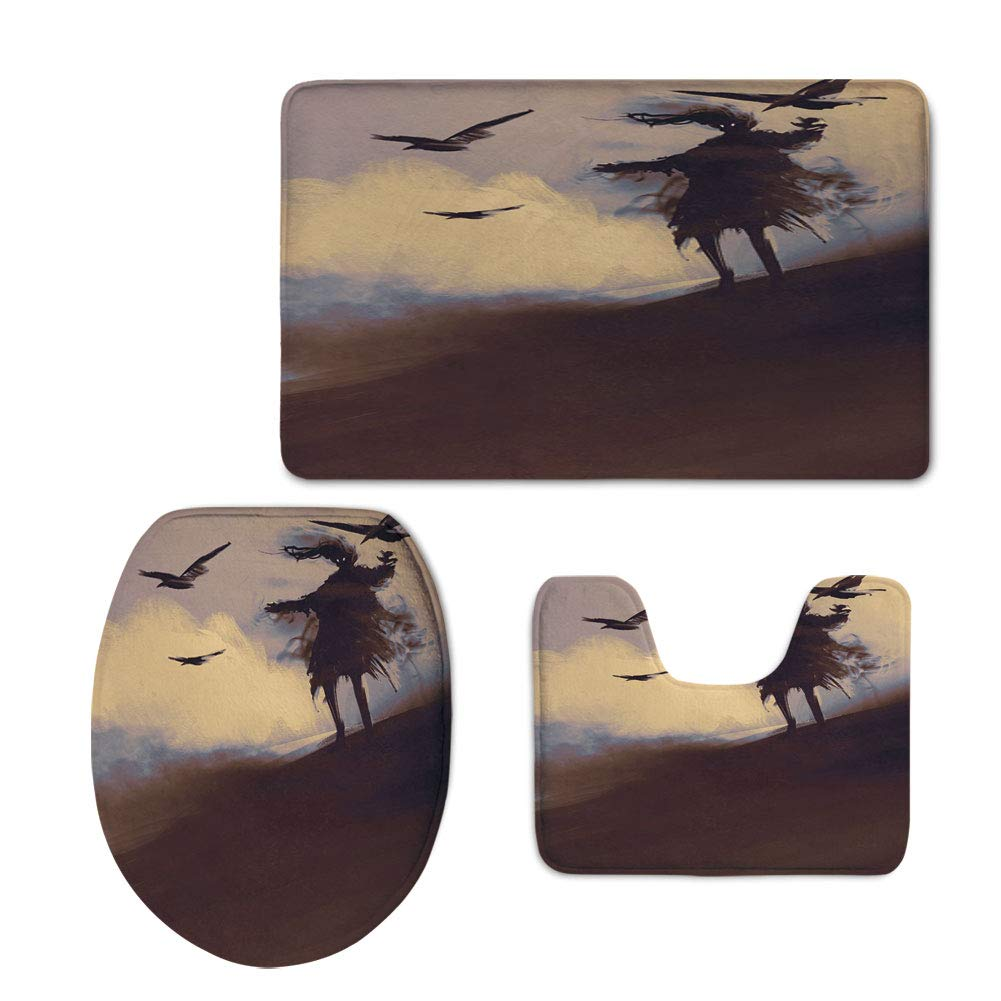 iPrint Fashion 3D Baseball Printed,Horror Decor,Dark Soul from a Scary Movie Film on The Hills with Clouds and Flying Crows Print,Black,U-Shaped Toilet Mat+Area Rug+Toilet Lid Covers 3PCS/Set