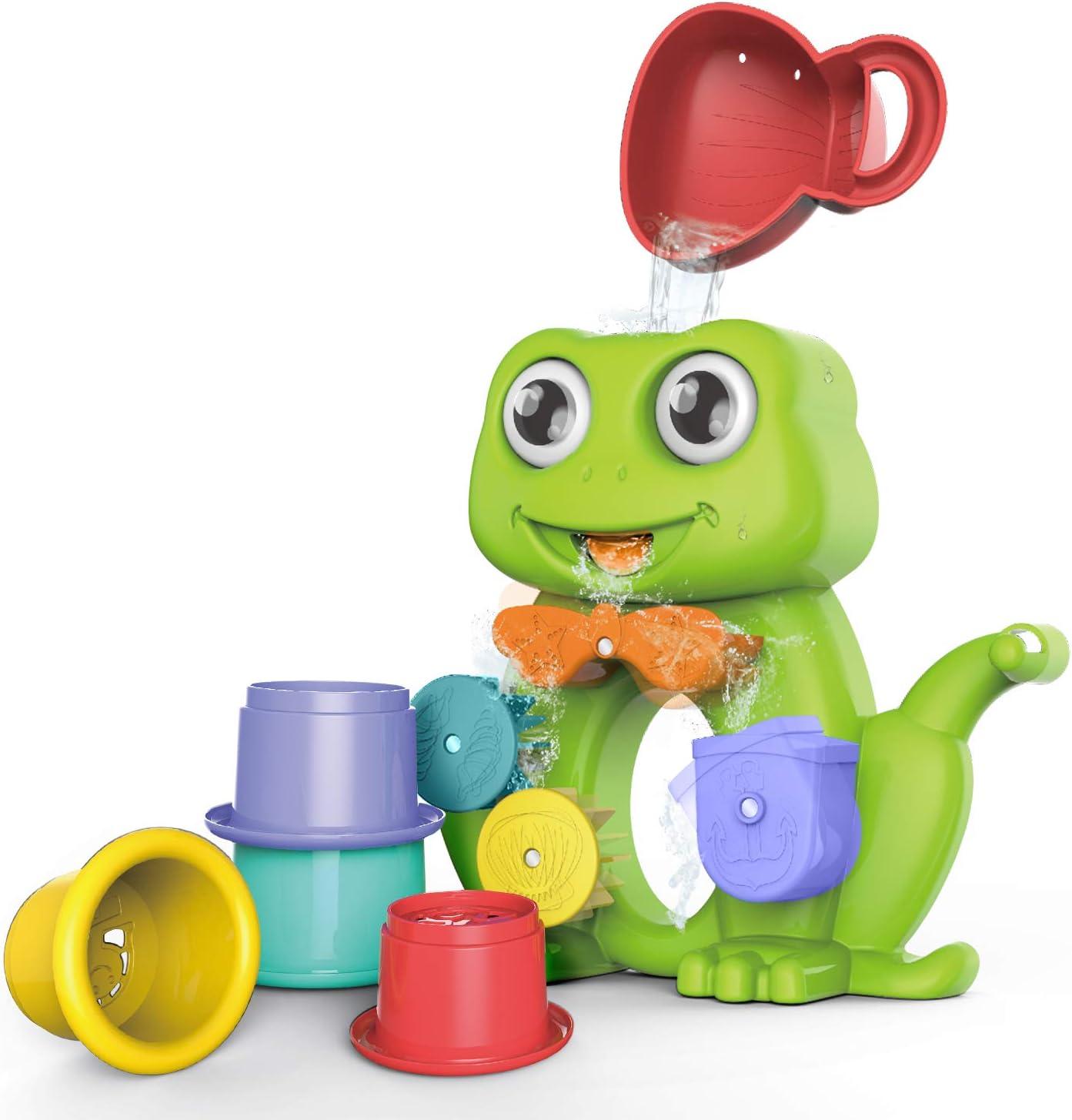 GizmoVine Juguetes de Baño en Forma de Ranas, Juguetes Flotadores de Animales y Vasos de Agua ; Juguete de Piscina para Niños,Juguetes Bañera de Bebé Hechos para Muchachos y Chicas.