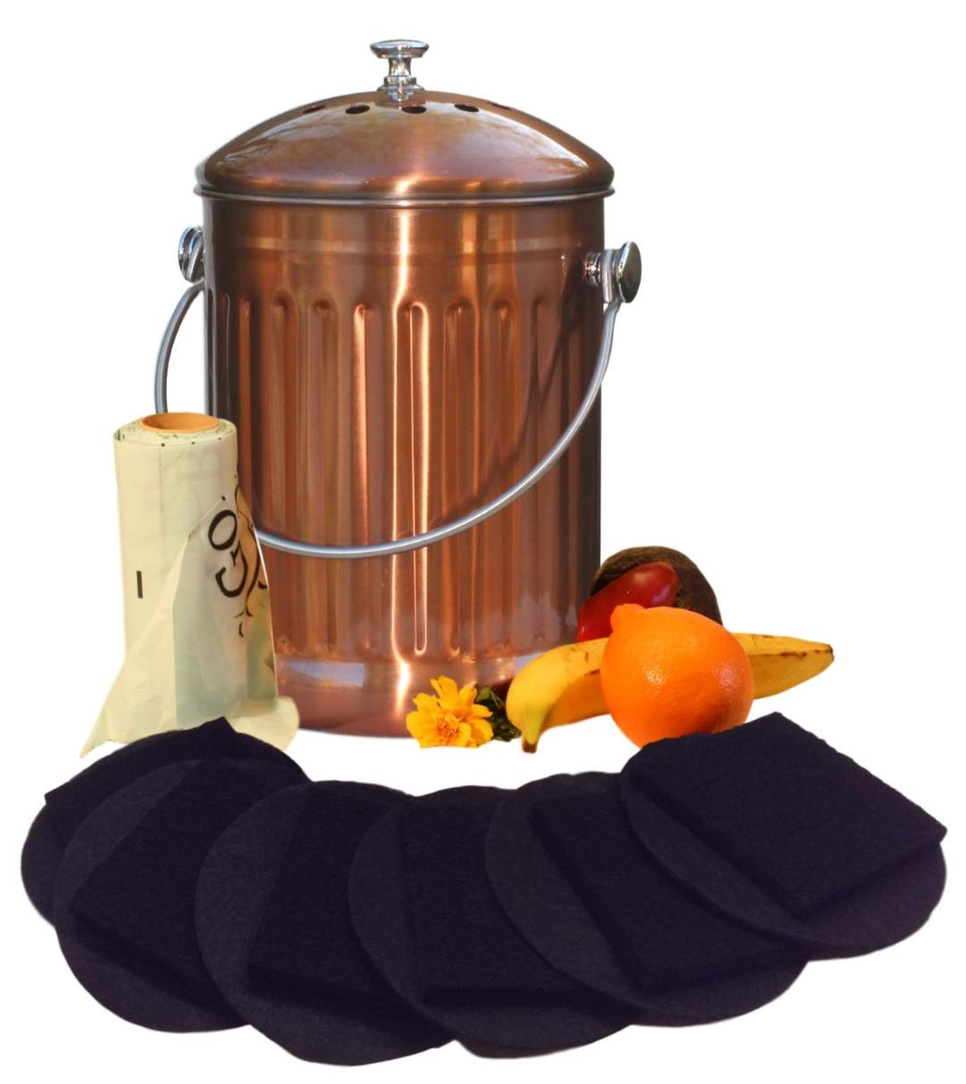 Kitchen Compost Pail Bin for Countertop - Large Capacity 1.5 Gallon Food Scrap Container, Leak proof Copper Coated Stainless Steel - Includes 1 Year of Charcoal Filters & Compost Bags