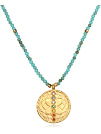 Satya Jewelry Women's Turquoise Gold Chakra Pendant Necklace 18-Inch, Blue, One Size