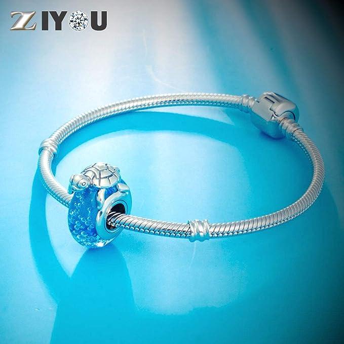 Sea Turtle Charm Aqua Blue Genuine 925 Sterling Silver /& Murano