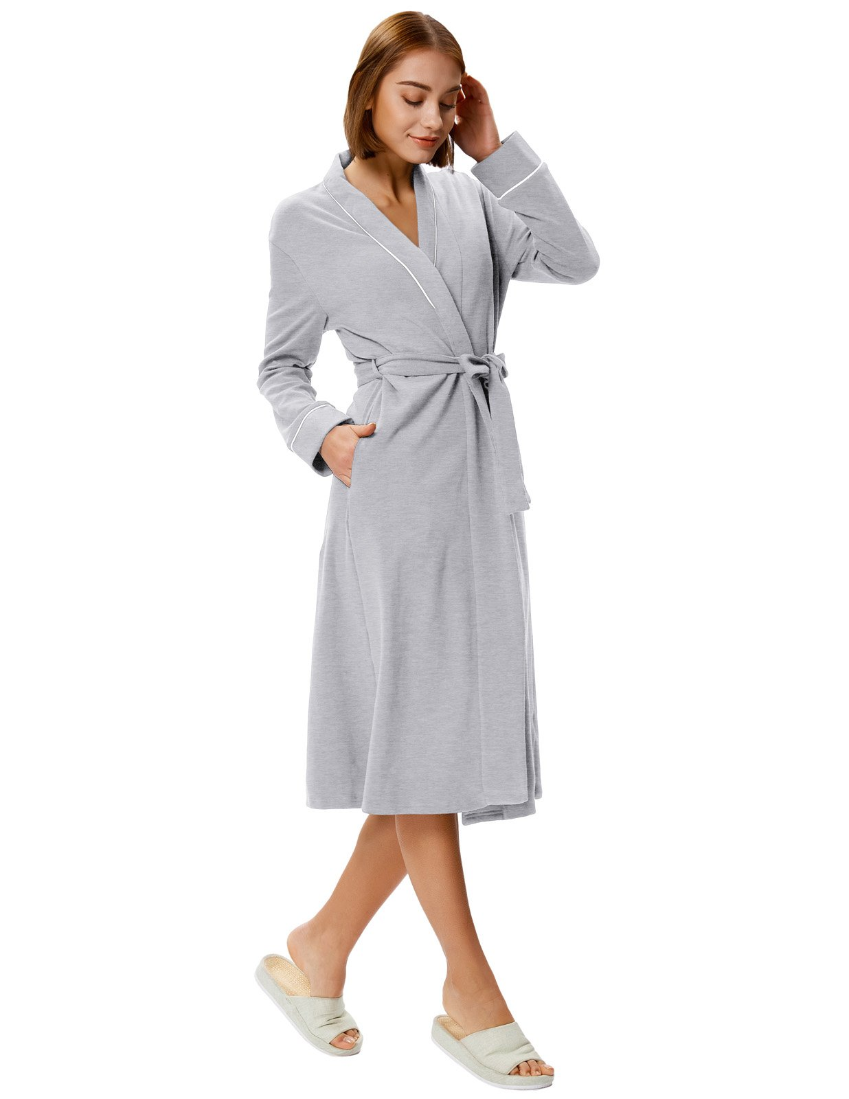 Zexxxy Warm Robes for Women Long Soft Cotton Blend Wrap Robe Terry Cloth Light Grey M