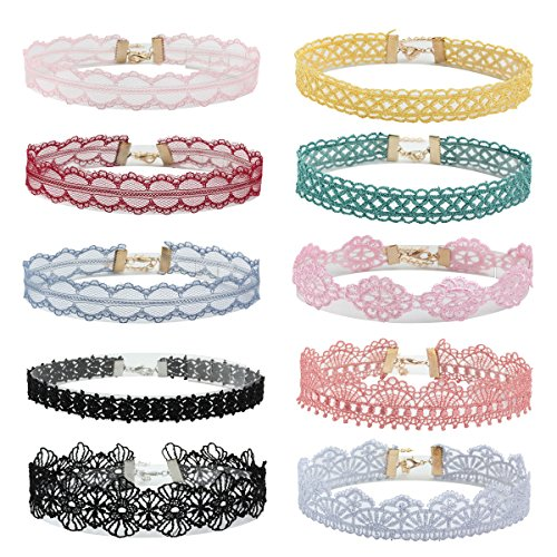 (Milakoo 10 Pcs Lace Floral Choker for Girl Women Gothic Tattoo Choker Collar Lace Necklace Adjustable)