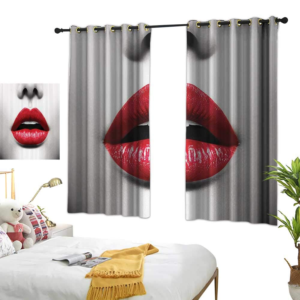 Guane Curtain tiebacks Red and Black,Cosmetic Lipstick in Vivid Alluring Colors Photo of Model Lips,Scarlet Pale Grey 72''x108'',Darkening Drapes Thermal Insulated