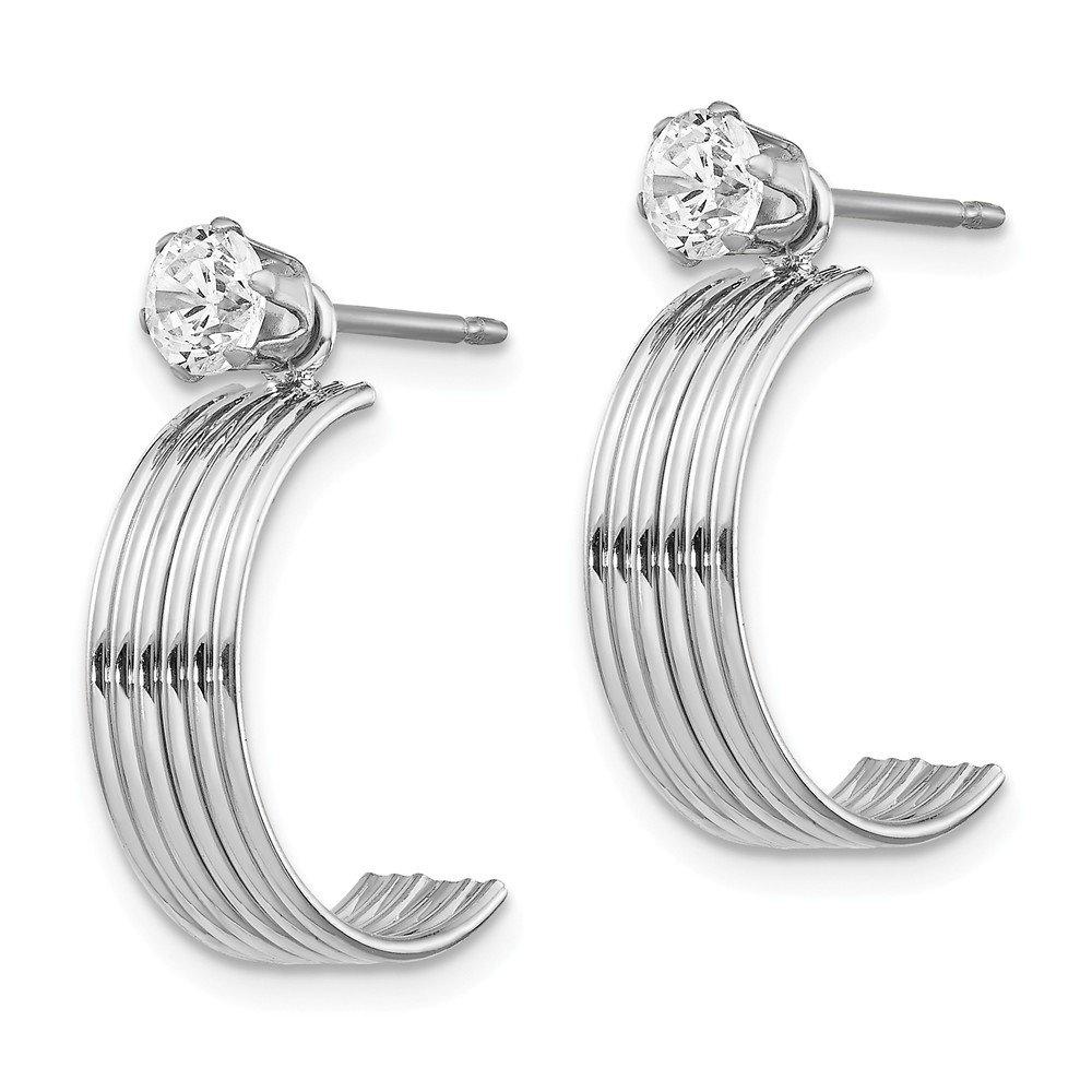 Mia Diamonds 14K White Gold Polished with CZ Stud Earring Jackets