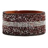 Winter's Secret Wide Coffee Creative Natural Crystal Gravel Bangle Lint Leather Bracelet U Shape Button